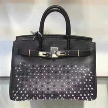 High Quality Palms Lines Women Rivet bag Genuine Leather Handbags Back Graffiti Tote Bags Silver Lock 30cm Luxury Designer
