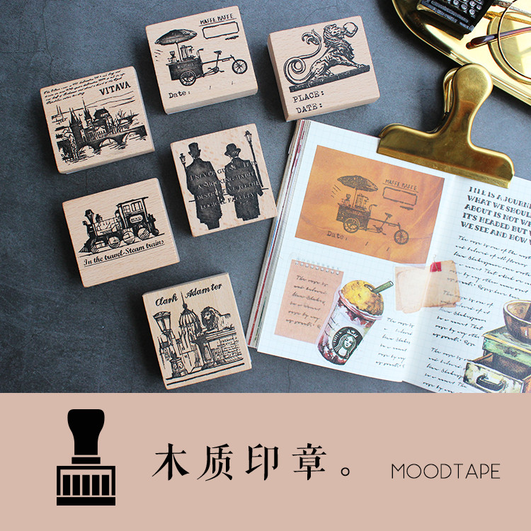 Vintage Wood Clear Stamp For DIY Scrapbooking/photo Album Decorative Stamp Holmes Coffee Truck Travel Train Rubber Stamp Seal