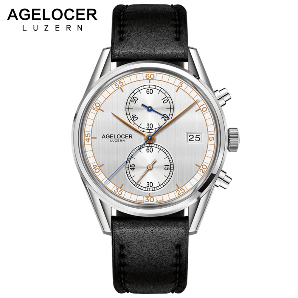 Original Swiss AGELOCER Watches Chronograph Sport 2Eyes Casual Wristwatch Calendar Quartz Timepiece with watch box montre homme agelocer brown watch a classic timepiece sport dual dial mens casual wristwatches wristwatch free shipping relojes para hombre
