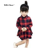 Baby Girls Dress 2017 Autumn Long Sleeve Shirts Dress for Girls Cotton Plaid Clothes Brand Kids Shirts
