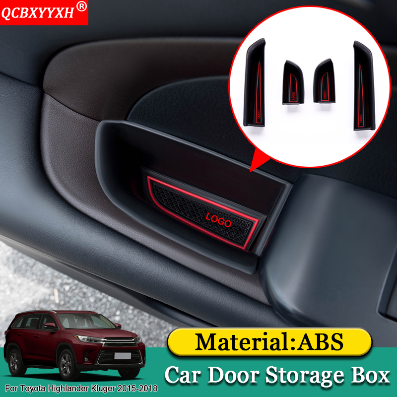 QCBXYYXH Car-styling Car Door Armrest Storage Box Covers Interior Decoration Accessories For Toyota Highlander Kluger 2015-2018