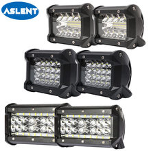 Aslent  4 60W 72W 5 inch 84W Spot Beam LED Work Light Bar Offroad Driving Lamp 12v 24v Trucks SUV ATV 4x4 4WD Working Lights