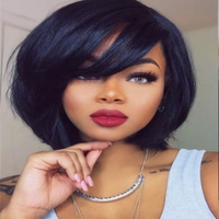 Short Lace Wigs with Bang Indian Non Remy Human Hair Straight Machine Made Lace Human Hair Wigs For Women Natural Color 6''