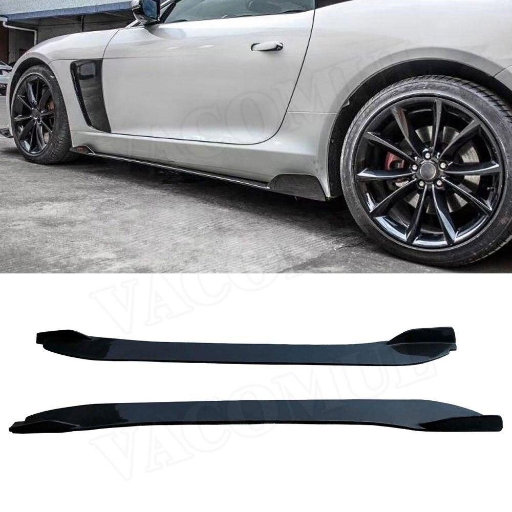 Jupes Latérales en Fiber De carbone pour Jaguar F type Coupé 2 Portes 2015 2016 2017 2018 2019 2 pièces/ensemble Voiture style Extension de L'aire de Lèvre