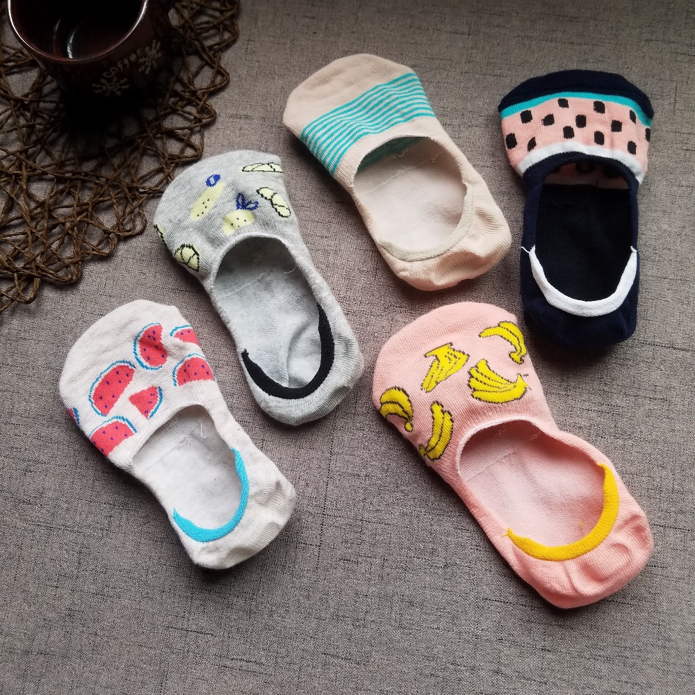 Colorful fruit Invisible Short Woman Sweat summer comfortable cotton girl women's boat   socks   ankle low female 1pair=2pcs ws171