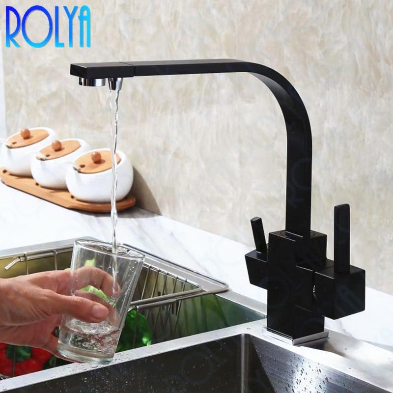 Rolya Osmose Reversa Três Vias Misturador Pia 3 way filtro de água Tri Fluxo Torneira Da Cozinha torneira de Bronze Construção Alba Preto