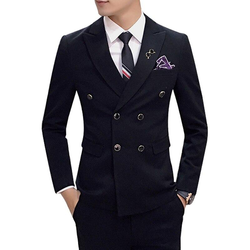 ( Jacket + Vest + Pants ) New Men's Fashion Boutique Pure Color Groom Wedding Dress Suit Three-piece Men's Formal Business Suits