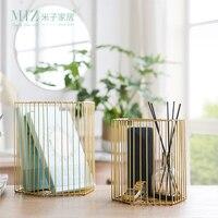Miz 1 Piece Storage Basket Metal Storage Box Pen Holder Home Decoration Accessories Desk Organizer for Sundries 2 Sizes