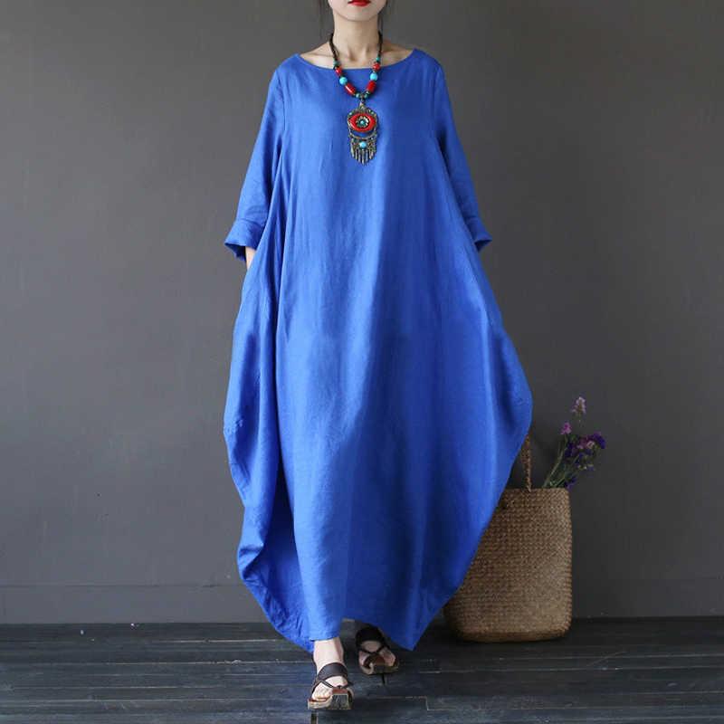 d244f6d027c6 2018 Summer Plus Size Dresses For Women S-5XL Loose Cotton Linen Dress O  Neck