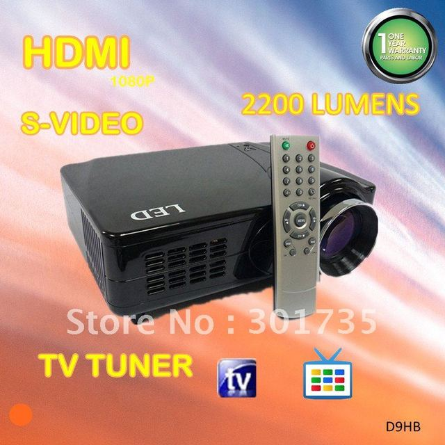 Sales promotion!! projector  with hdmi and tv tuner, SCART/AV/VGA/S-VIDEO/YPBPR, 2200 lumens (D9HB)