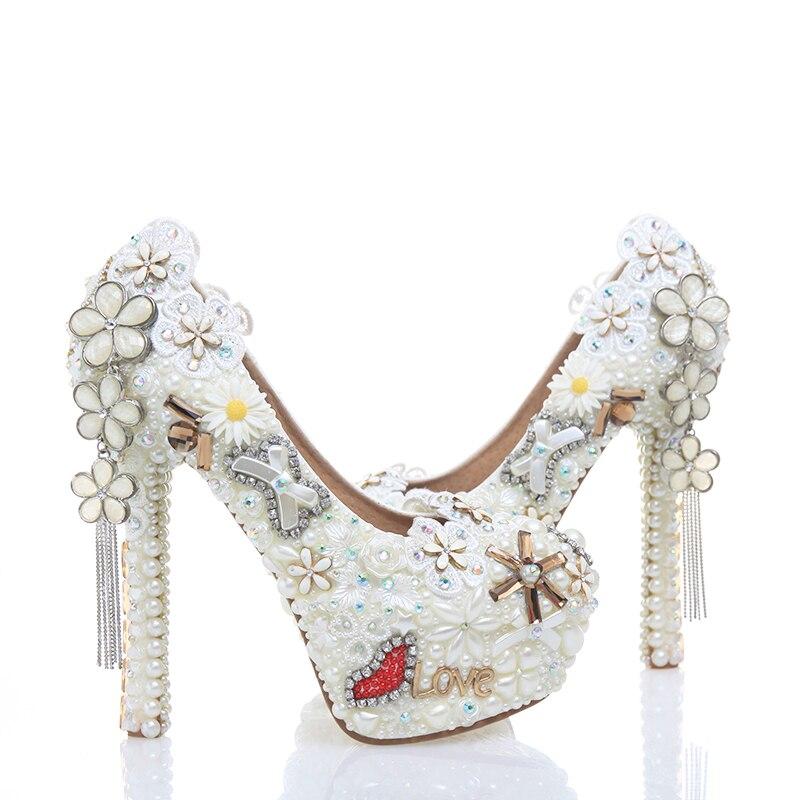 Mariage white Cuir Robe Haute Grade Pouces Chaussures 10cm Heels Talons En Mariée Pompes Perle Heels 14cm 5 Classique De 12cm Strass Blanc Talon Haut Partie White 2018 fgT5xIqw7Z