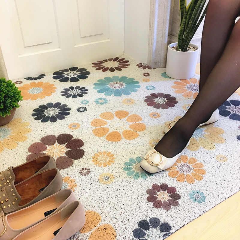 Mata do drzwi wejściowych pcv jedwabne loop wodoodporna dywan łazienkowy wykonane na zamówienie antypoślizgowa kuchnia pokój floormat gospodarstwa domowego pocierać gleby dywan