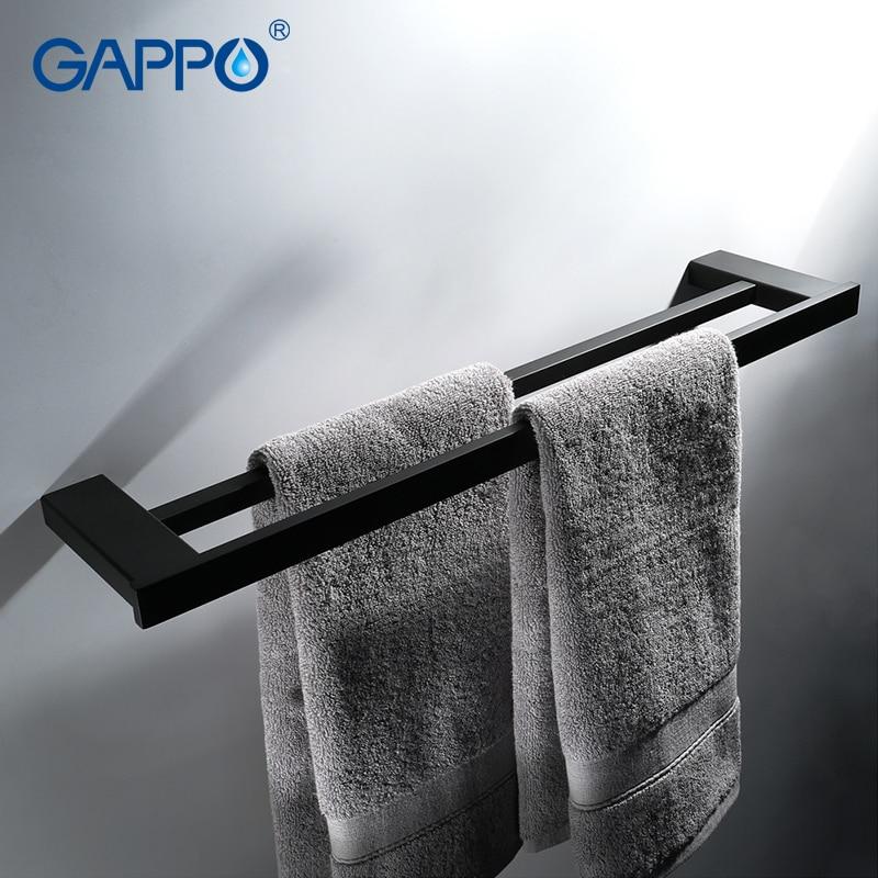 GAPPO Towel Bars black bathroom hardware accessories bath towel holder hanger rod wall mounted toalheiro gappo towel bars bathroom towel holder hanger bath accessories stainless steel towel rack towel ring robe hooks bathroom