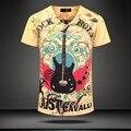 2017 Nuevo Verano de la vendimia de Manga Corta Con Cuello En V Animal 3d impreso T shirt Homme Marca Leopard Algodón de Los Hombres Camiseta de Los Hombres clothing