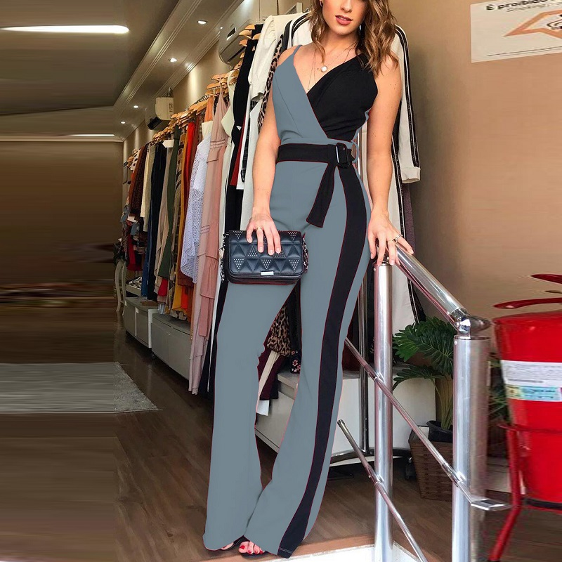 Sexy V Neck Belted Jumpsuit Overalls Elegant Chic Streetwear Women Summer Casual Color Block Spaghetti Strap Jumpsuits