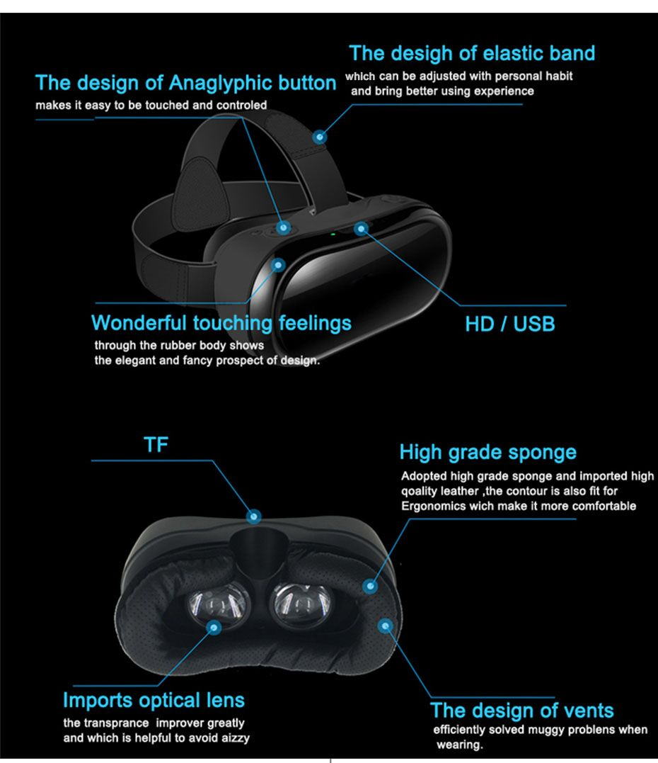VR 3D Headset for PC P/S 4 Xbox one 2560*1440 RK 3288 Virtual Reality Gogg All In One VR With Bluetooth Controllers