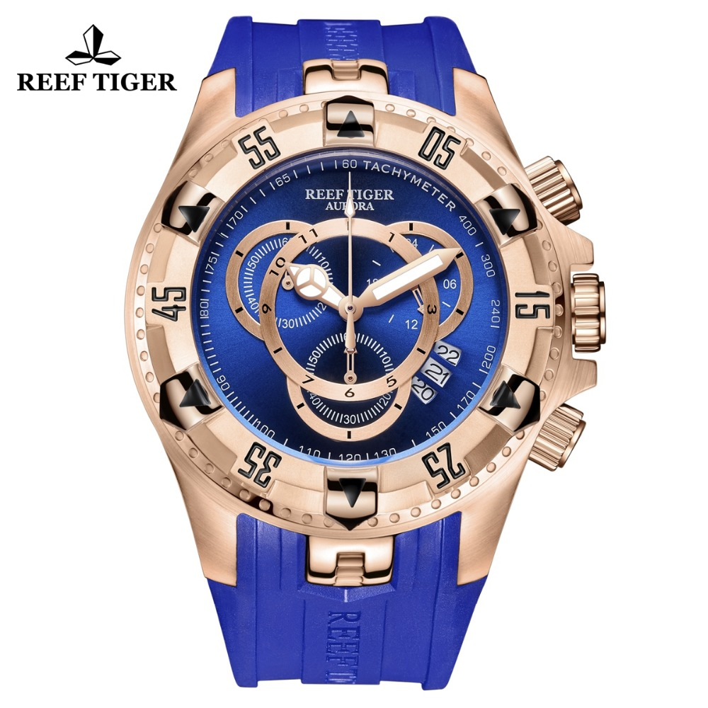 New Reef Tiger/RT All Blue Fashion Sport Watches Rose Gold Mens Watch Big Date Chronograph Stop Watch Reloj Hombre RGA303-2 reef tiger rt designer sport watches for men rose gold quartz watch with chronograph and date reloj hombre 2018 rga3063