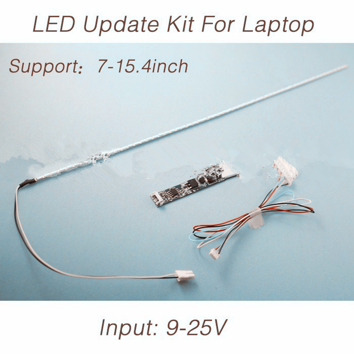 2pcs X LCD Laptop Dimable LED Backlight Lamps Adjustable Light Update Kit Strip+Board 9-25V Input