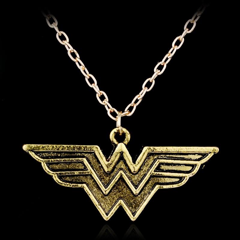 DC Superhero Wonder Woman Necklace Super Hero Golden W Letter Logo Pendant Necklace For Women Men Fashion Jewelry Accessories