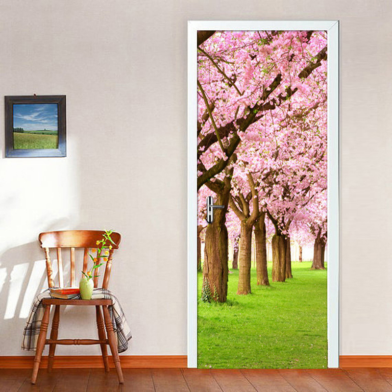 PVC Self-adhesive Creative DIY 3D Door Sticker Photo Wallpaper Cherry Blossom Tree Door Mural Home Decoration Stickers For Wall 120pcs lot circular cursive writing thank you adhesive kraft seal sticker for baking gift label stickers funny diy work