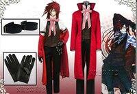 Anime Black Butler Death Shinigami Grell Sutcliff Cosplay Đồng Phục Màu Đỏ Trang Phục + Kính Carnaval Trang Phục Halloween