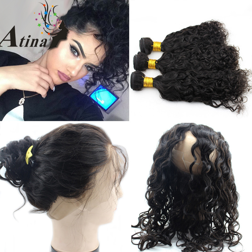 Water Wave 360 Frontal Band with Bundles and Baby Hair Indian Virgin Pre Plucked Full 360