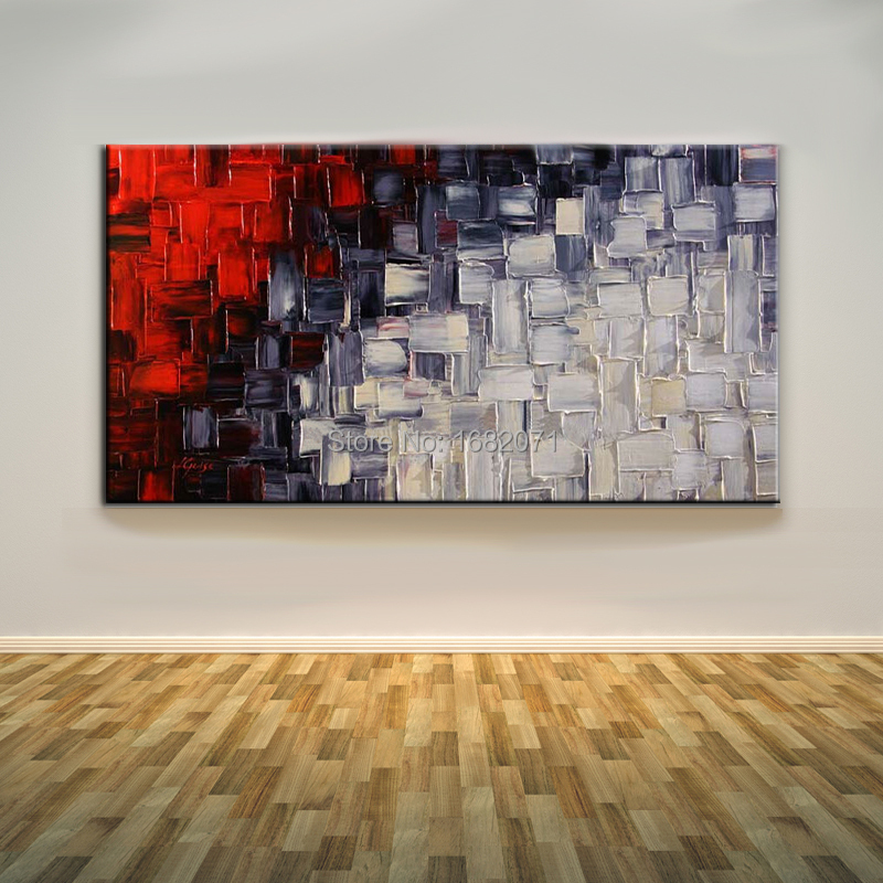Artist Handmade Knife Black White And Red Oil Painting Unique Modern Abstract Square Pop Oil Painting For Living Room Decoration