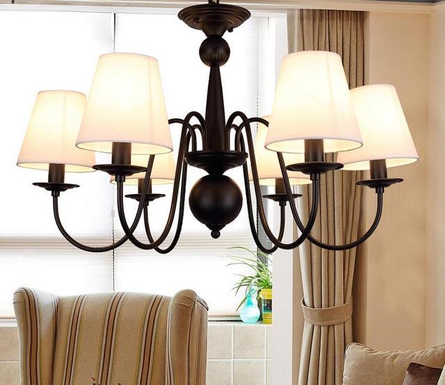 led rustikale amerikanische leinen lampenschirm kostenloser versand kronleuchter fr schlafzimmer wohnzimmer foyer studie hotelzimmer - Kronleuchter Fur Foyer