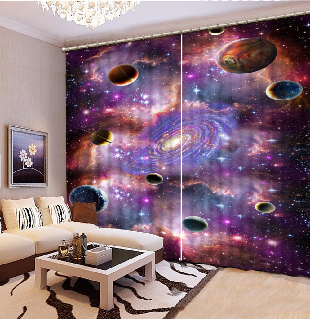 3D Curtain Custom any size Blackout Shade Window Curtains Purple Space Planet Bed Room Living Room Office Hotel Cortinas