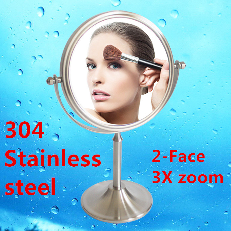 6 inch fashion high-definition desktop makeup mirror 304 Stainless steel cosmetic 2-Face metal bathroom mirror 3X magnifying