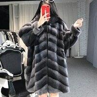 2018 мода норки пальто с мехом, лауреат Нобелевской женские норковые шубы меха Куртки Большие размеры Настоящее пальто с мехом норки пальто Б