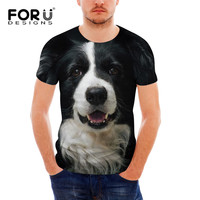 FORUDESIGNS Fashion 3D Dog Pattern Black T Shirt For Men Summer Hip Hop Men S O
