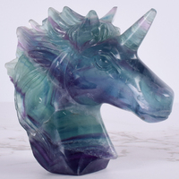 Big size Natural Fluorite Handcrafted Unicorn Skull Figurine Healing Energy Carved Crystal Statue Gemstone Home Decoration