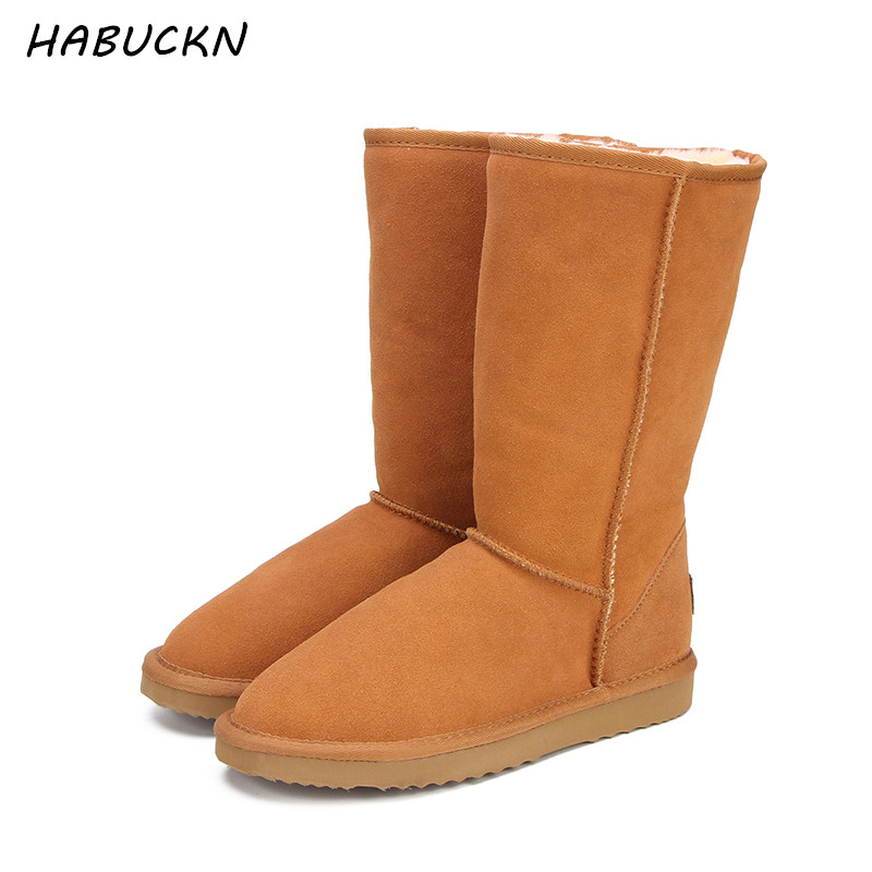 HABUCKN Fashion Women Snow Boots Australia Classic High Quality Genuine Leather Warm women Winter boots botas mujer Size34-44 2018 new women wallets oil wax genuine leather high quality long design day clutch cowhide wallet fashion female card coin purse