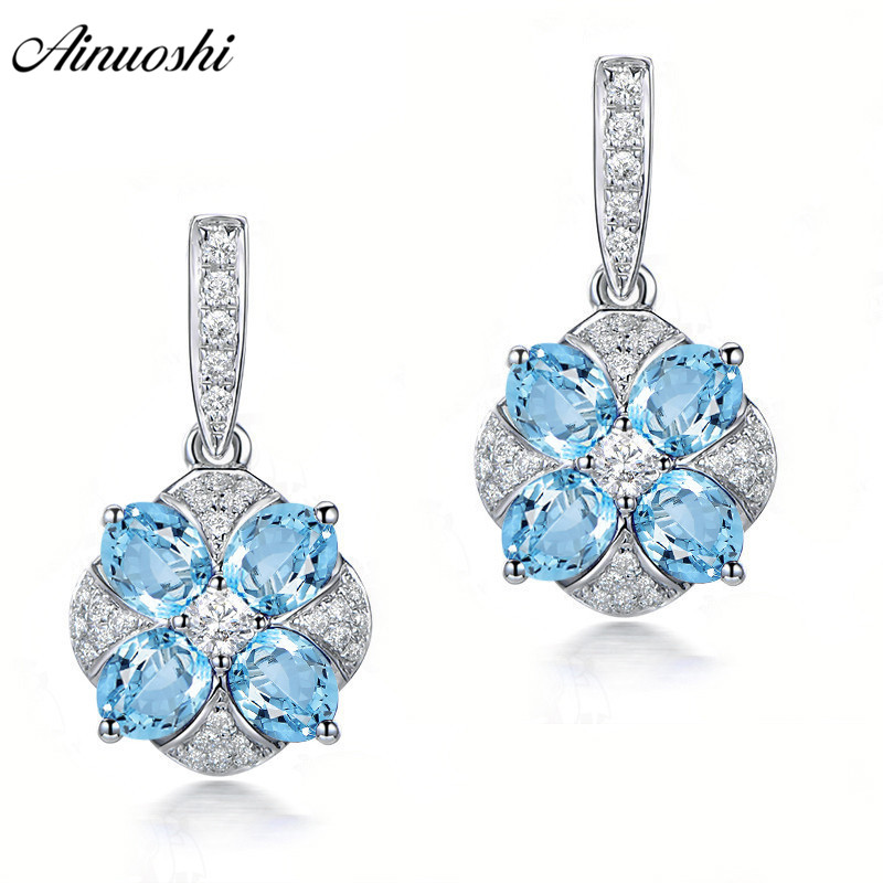 AINUOSHI Natural Blue Topaz Drop Earring 2 Carat Gems Push Back Silver Earring Trendy Flower Drop Earring Gift for Women Jewelry термокружка gems 470ml blue topaz 1907 77