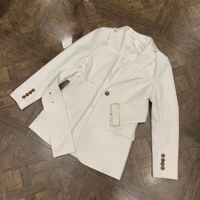 Bouton Lady Mode blanc Dessus Ceinture Parti Manteaux De Veste Vêtements Nouveau Femmes Solide Unique Pour Noir Couleur 2019 xBwYUAqn