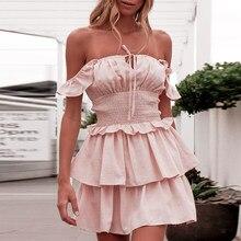 6b81f2b02 NLW de verano 2019 de moda de las mujeres blanco Correa Vestido corto  vestido de cintura alta de Mini Rosa vestido de fiesta Ves.