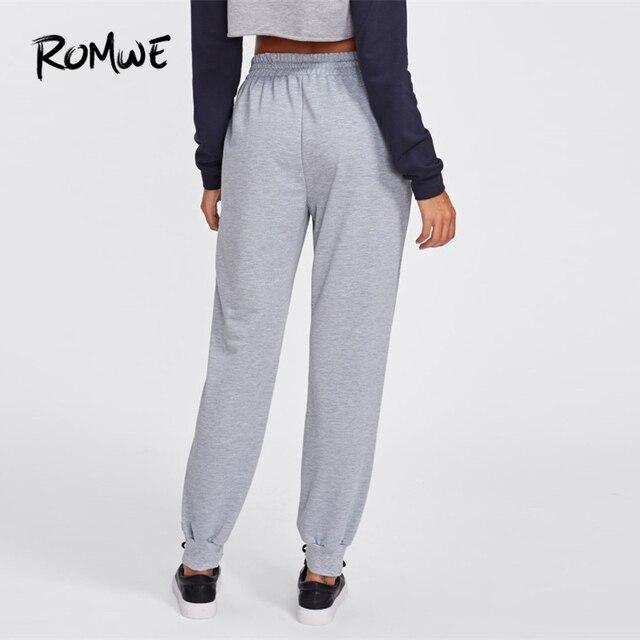 Romwe Спорт Серый шнурок талии марли женские спортивные брюки зимние штаны для бега упражнения на открытом воздухе спортивные упражнения для ... 1