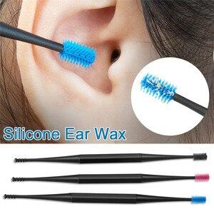 Image 1 - 부드러운 실리콘 귀 선택 양면 Earpick 귀 왁스 큐렛 리무버 귀 청소기 숟가락 나선형 귀 청소 도구 나선형 디자인