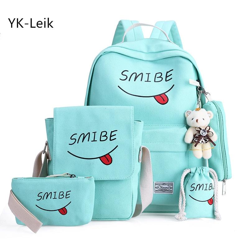 5pcs/set Korean version Smiley expression backpacks Canvas School bag for teen girls Women casual travel backpack Shoulder Bag