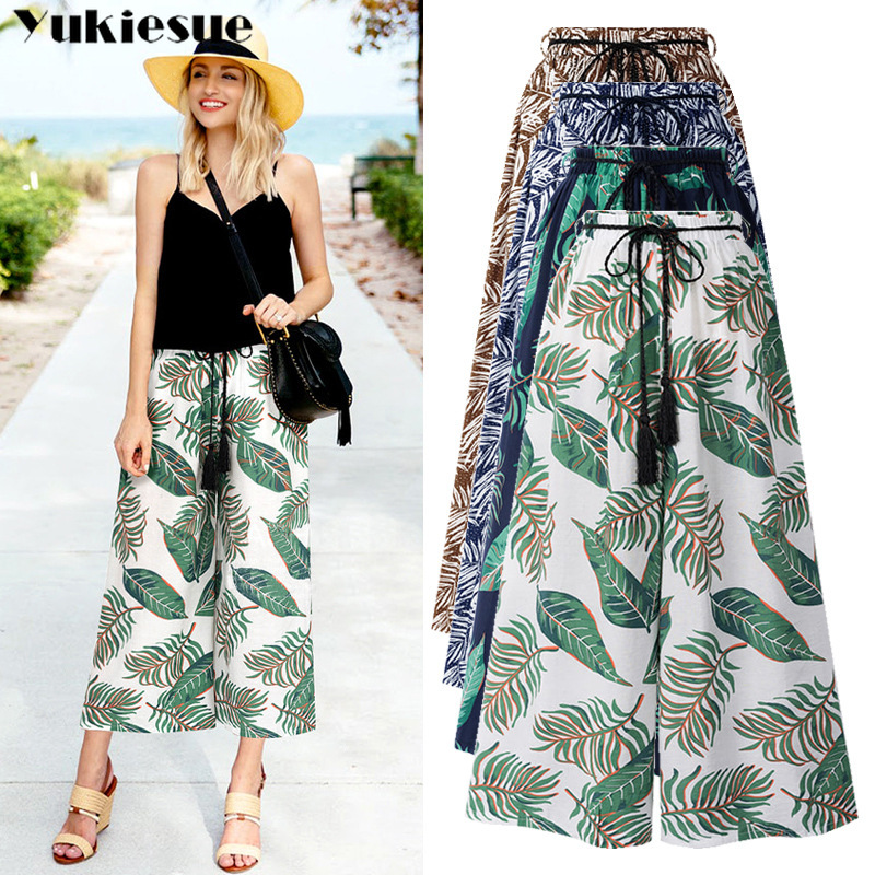 High waist   pants   for women loose OL office printed   wide     leg     pants   female trousers streetwear women's pantalon femme Plus size