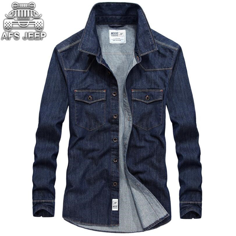 100 % Cotton Jeans Men Shirt Denim Design Autumn Casual Shirts Long Sleeve Size 4XL Militare Cargo Breathable Windbreaker Soft