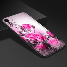 For Apple iPhone XR Case Soft TPU Leather A2105 Cover Flowers Patterned Bumper Shell
