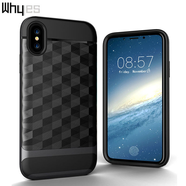 online store e30dd e0e4e US $3.38 17% OFF|Aliexpress.com : Buy Whyes For Apple iphone X Case  ShockProof Rhombus Brushed Protective Armor Dual Layer Anti Shock TPU And  PC For ...