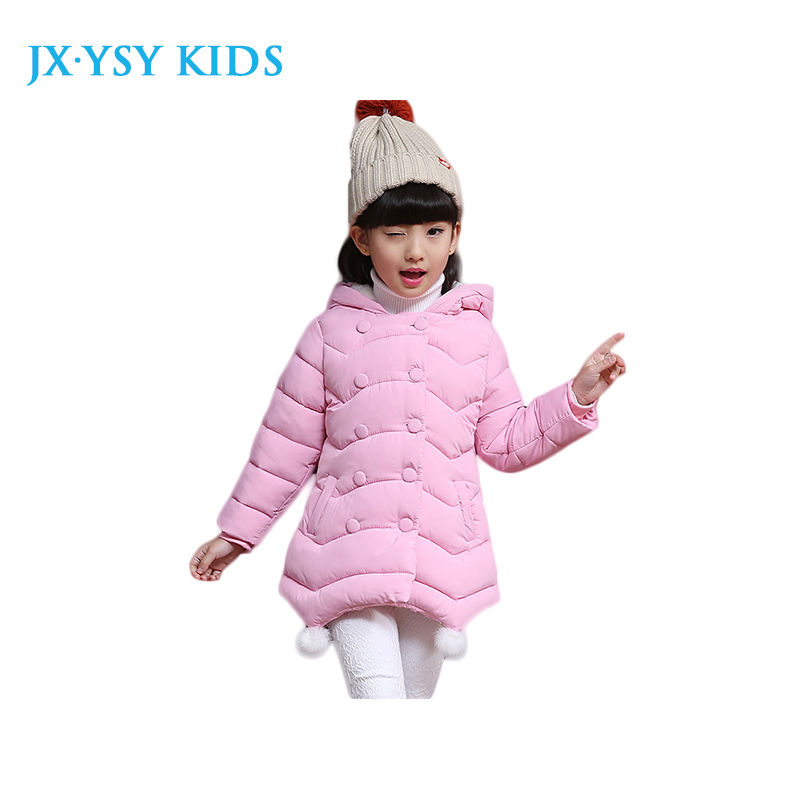 2017 New Arrival 100-160 Girls Winter Jacket Warm Kids Coat Children Holiday Parka Hood & Pocket Ball Dec in Three Solid Colours