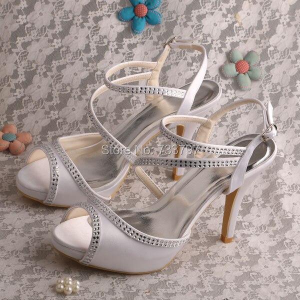 ФОТО Wedopus Fashionable Party Sandals with Rhinestone Platform Women Wedding Shoes