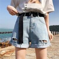 2018 New Women Shorts Denim Summer High Waist Shorts Plus Size Hollow Out With Belt Harajuku