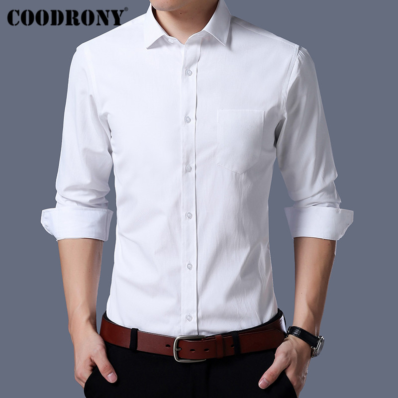 COODRONY Men Shirt Autumn Business Casual Shirts With Pocket Classic White Shirt Men Long Sleeve Cotton Camisa Masculina 96035