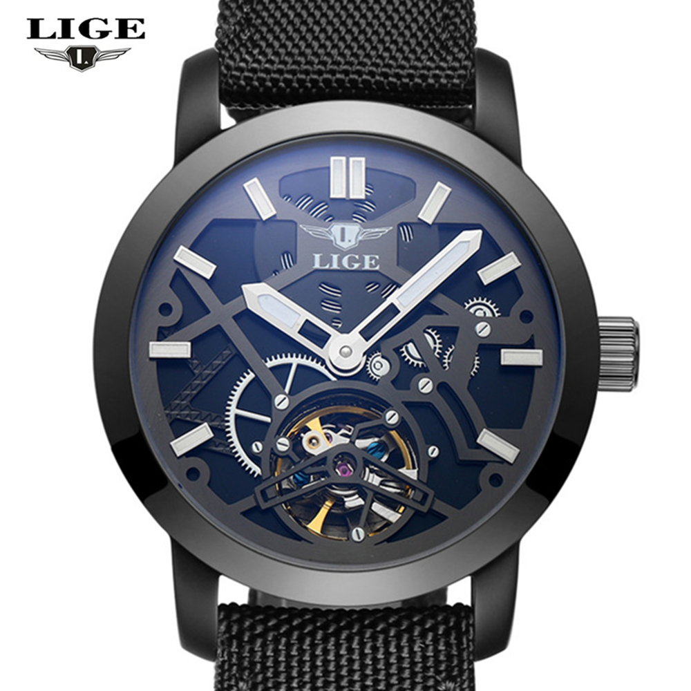 Lige sport watch men 39 s luxury brand relogio masculino military mechanical watches leather hollow for Lige watches