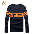 2016 Man Plus Size Long Sleeve O-neck 2XL Black Wine Navy Knitted Pullovers Brand Clothing Men Sweater